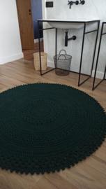 Vloerkleed rond donker groen 155cm