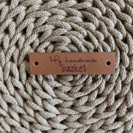 Leren label horizontaal My handmade basket cognac