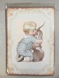 Nostalgisch bordje knuffel konijn P4