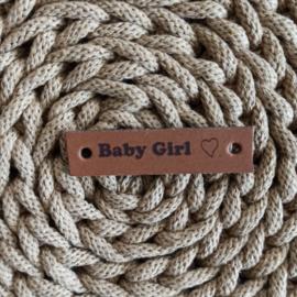 Leren label horizontaal Baby Girl cognac