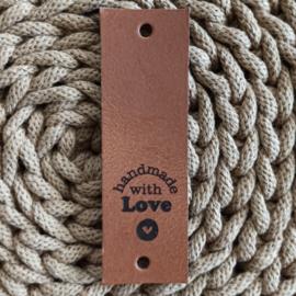 Leren label verticaal Handmade with love cognac