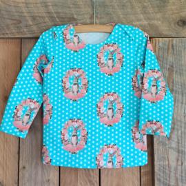 T-shirt lange mouw, blauw konijn maat 80