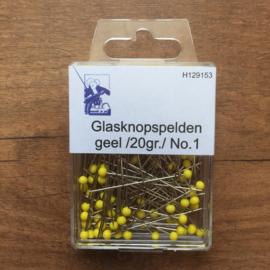 Glasknopspelden geel 43mm