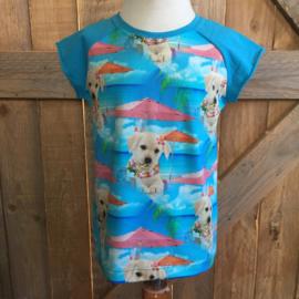 T-shirt hond met parasol maat 104