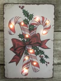 Nostalgisch kerstbordje 2 met verlichting