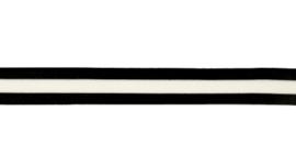 Flexibel gestreept band zwart-wit-zwart 25 mm