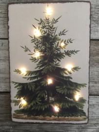 Nostalgisch kerstbordje 1 met verlichting