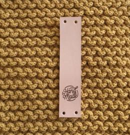 Leren label verticaal Handmade, naturel