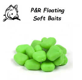 P&R Floating-Soft Baits Mais Fluo Groen 10mm 10stuks