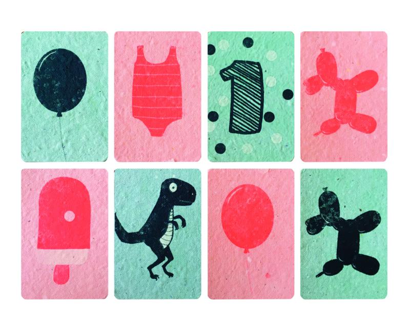 minikaartjes blauw/roze