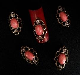 3D full nail rood/roze