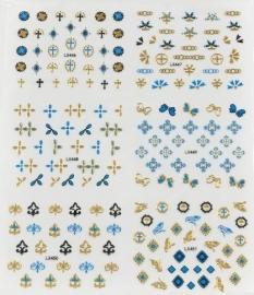 Stickervel Blauw/Goud