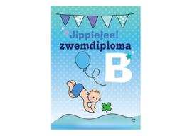 Unieke Postkaart Zwemdiploma B jongen