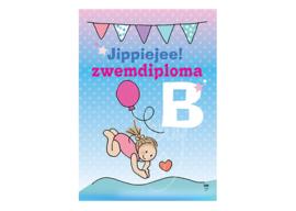 Unieke Postkaart Zwemdiploma B meisje