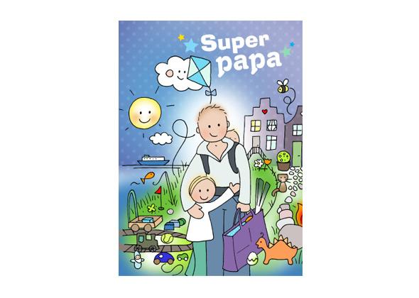 Unieke Postkaart Super Papa
