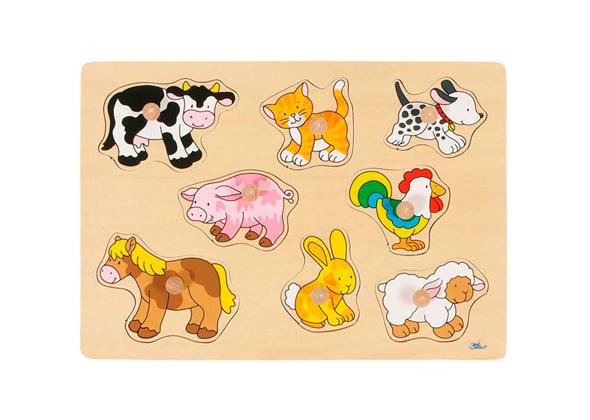 Goki 8-delige boerderijdierenpuzzel