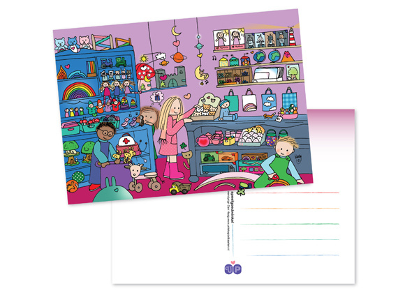 Unieke Postkaart Speelgoedwinkel