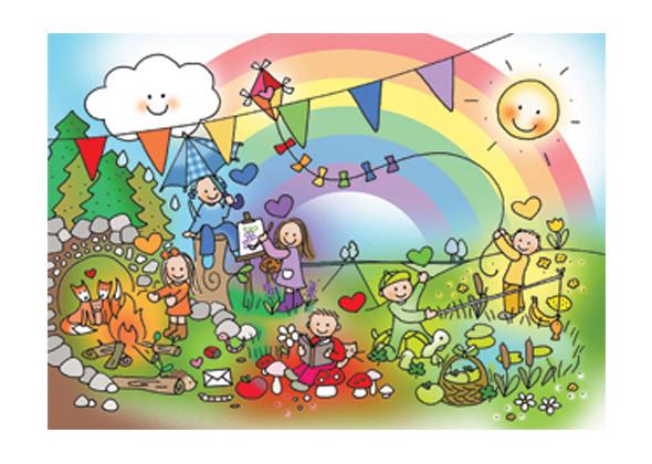 Unieke Postkaart Regenboogkindjes