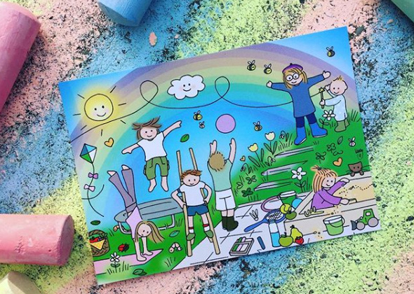 Unieke Postkaart Buitenspeelkindjes