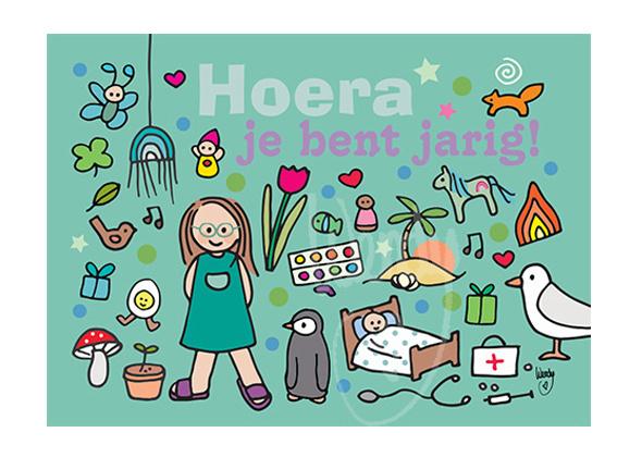 Unieke Postkaart Jarig meisje