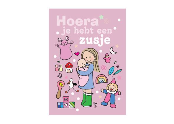 Unieke Postkaart Zusje Roze