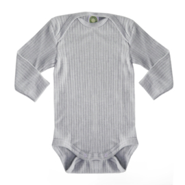 Baby body, wool/silk/cotton GREY MÉLANGE