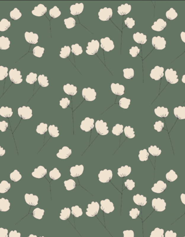 tricot COTTON FLOWERS green                 (per meter)