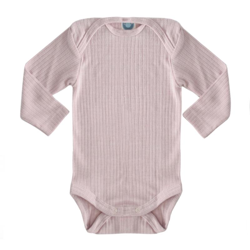 Baby body, wool/silk/cotton DUSTY PINK