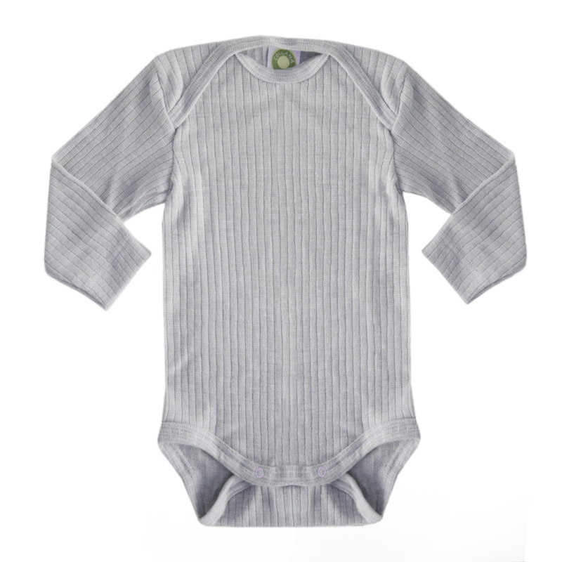 Baby body, wool/silk/cotton GREY MÉLANGE