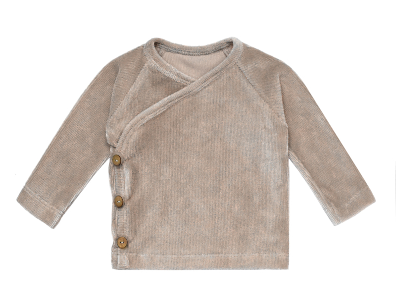 overslagshirtje RIBVELOURS taupe
