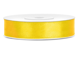 Satijn lint geel 12 mm