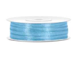 Satijn lint licht blauw 3 mm op 50 m