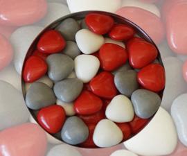 Doopsuiker hartjes rood mix