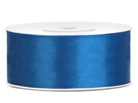 Satijn lint cobalt blauw 25 mm