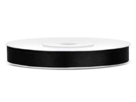 Satijn lint zwart 6 mm