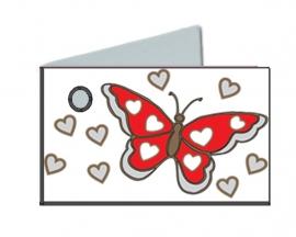 Naamkaartjes Effen rood+rode vlinder