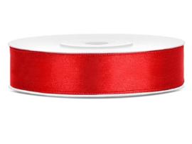 Satijn lint rood 12 mm