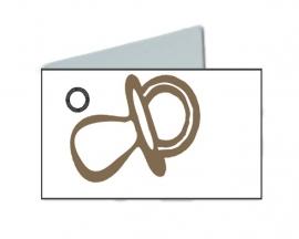 Naamkaartjes Effen wit+bruine fopspeen 8 pakjes 32st