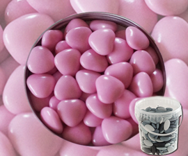 Suikerbonen hartjes roze emmer 450 gr