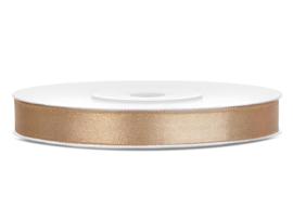 Satijn lint beige 6 mm