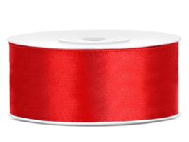 Satijn lint rood 25 mm