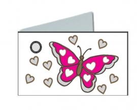 Naamkaartjes Effen wit+fuxia vlinder
