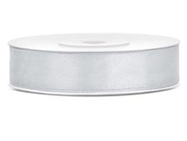 Satijn lint licht grijs 12 mm