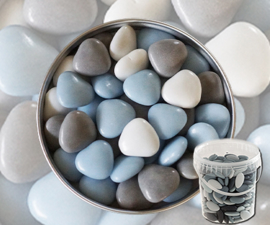 Suikerbonen hartjes blauw mix emmer 450 gr