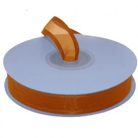 Organza lint met boord Oranje 15mm-25m