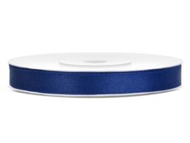 Satijn lint marine blauw 6 mm