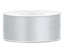 Satijn lint grijs 25 mm