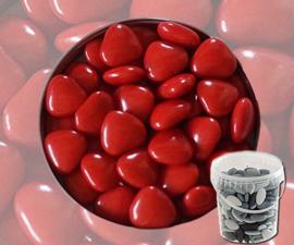 Suikerbonen hartjes rood emmer 450 gr