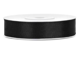 Satijn lint zwart 12 mm