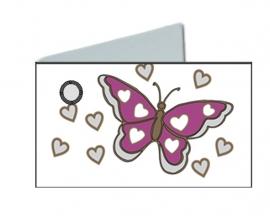 Naamkaartjes Effen wit +lilla vlinder